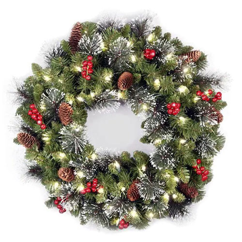 Christmas Wreaths with lights and pine cones